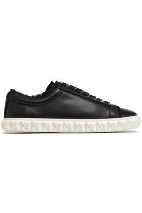 STUART WEITZMAN Fringe-trimmed leather sneakers