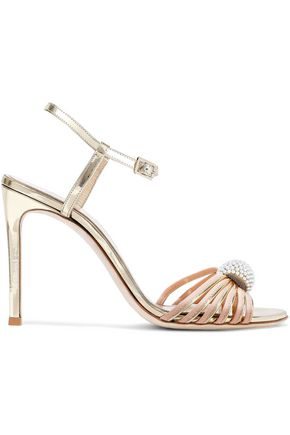 LANVIN Faux pearl-embellished matte and mirrored-leather sandals