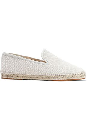 LANVIN Leather-trimmed woven espadrilles