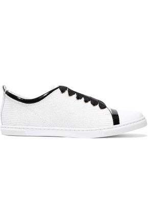 LANVIN Smooth, patent and lizard-effect leather sneakers