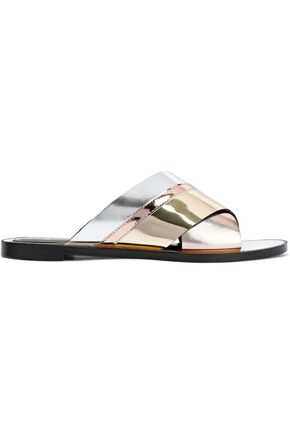 LANVIN Color-block mirrored and metallic leather slides