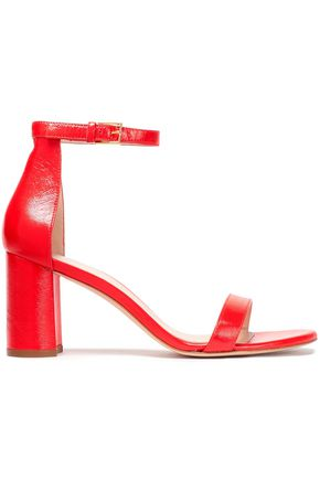 STUART WEITZMAN Crinkled patent-leather sandals