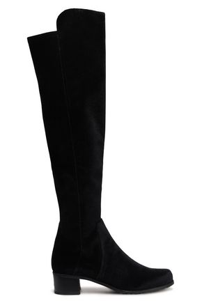 STUART WEITZMAN Velvet and stretch-knit knee boots