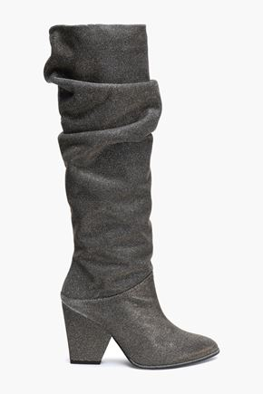 STUART WEITZMAN Ruched glittered stretch-knit knee boots