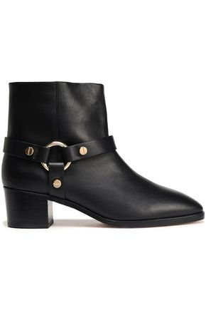 STUART WEITZMAN Ring-embellished studded leather ankle boots