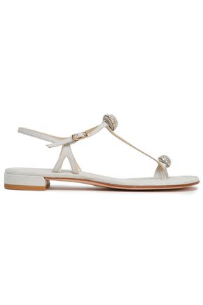 STUART WEITZMAN Balls Of Fire crystal-embellished metallic leather sandals