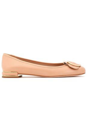 STUART WEITZMAN Buckled patent-leather ballet flats