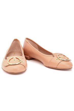 STUART WEITZMAN Buckled patent-leather ballet flats