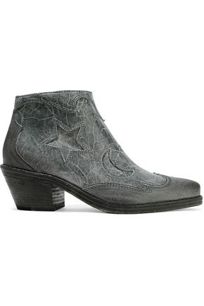 McQ Alexander McQueen Solstice distressed leather ankle boots