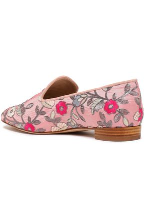 STUART WEITZMAN Suede-trimmed embroidered cotton-blend canvas loafers