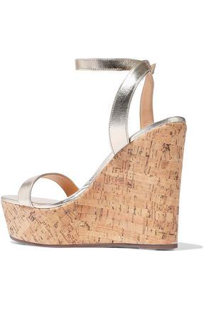 SCHUTZ Eduarda metallic leather wedge sandals