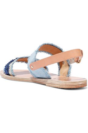 ANCIENT GREEK SANDALS Dinami raffia-trimmed denim and leather slingback sandals