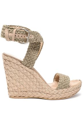 STUART WEITZMAN Suede-trimmed crocheted wedge espadrille sandals