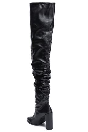 STUART WEITZMAN Gathered leather thigh boots