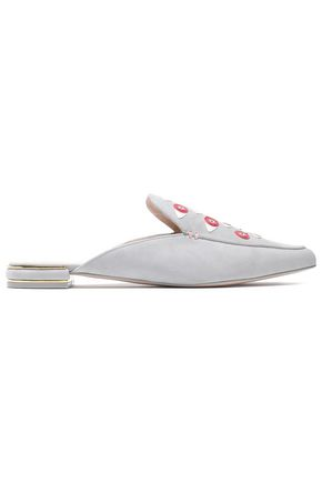 STUART WEITZMAN Appliquéd suede slippers