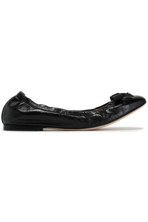 STUART WEITZMAN Bow-embellished crinkled patent-leather ballet flats