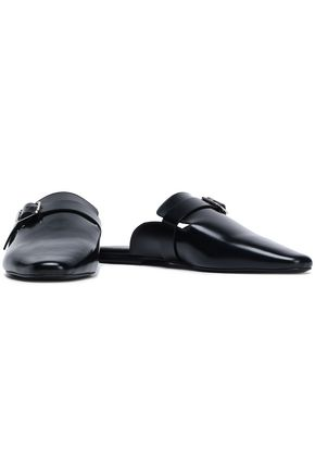 JIL SANDER Buckled glossed-leather slippers