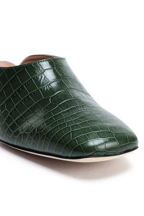 ATP ATELIER Tasso croc-effect leather mules