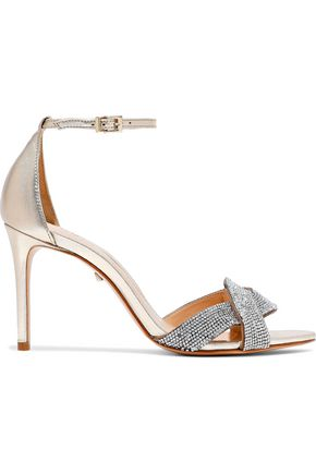 SCHUTZ Jolita crystal-embellished metallic leather sandals