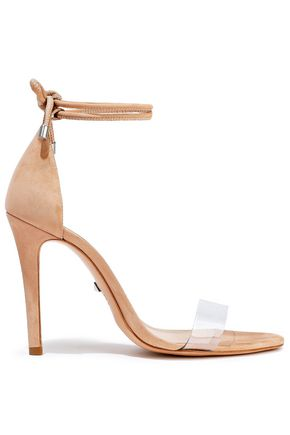 SCHUTZ Monique PVC-paneled suede sandals