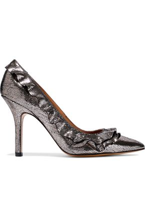 JÉRÔME DREYFUSS Panpan Frou Frou ruffle-trimmed metallic cracked-leather pumps
