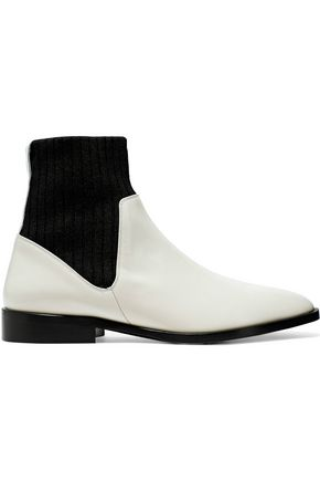 VINCE. Perlow ribbed knit and patent-leather ankle boots