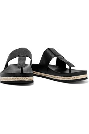 VINCE. Avani jute-trimmed textured-leather sandals