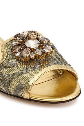 DOLCE & GABBANA Embellished leather-trimmed brocade slides