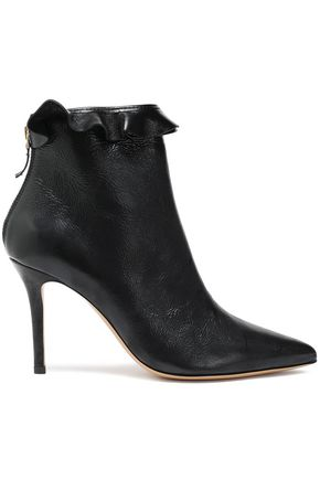 JÉRÔME DREYFUSS Ruffle-trimmed textured-leather ankle boots