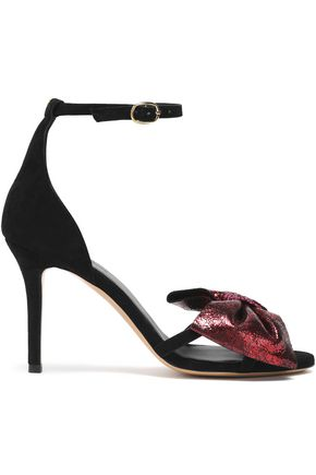 JÉRÔME DREYFUSS Bow-embellished metallic leather and suede sandals
