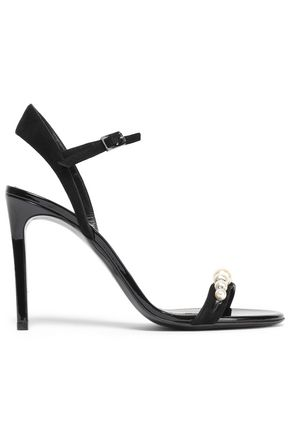 LANVIN Embellished suede and patent-leather sandals