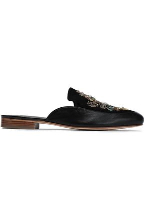 LANVIN Embellished suede-paneled leather slippers
