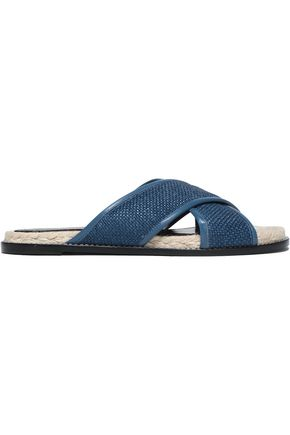LANVIN Leather-trimmed woven jute espadrille slides