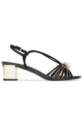 LANVIN Embellished suede and metallic leather sandals