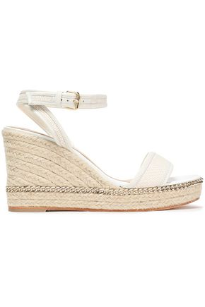 LANVIN Embellished leather-trimmed woven wedge espadrille sandals