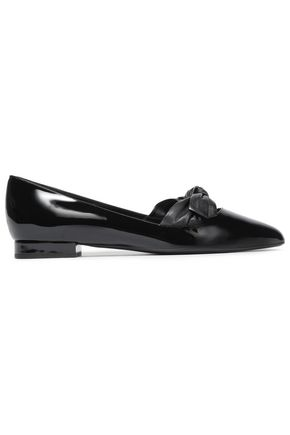 LANVIN Cutout knotted smooth and patent-leather point-toe flats