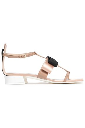 LANVIN Bow-embellished leather, grosgrain and satin sandals
