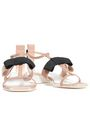 LANVIN Bow-embellished leather, satin and grosgrain sandals