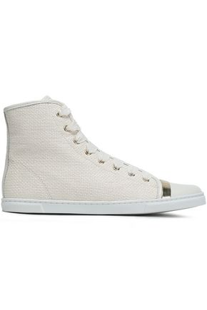 LANVIN Leather-paneled metallic-trimmed grosgrain sneakers