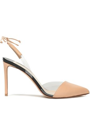 FRANCESCO RUSSO PVC and leather slingback pumps