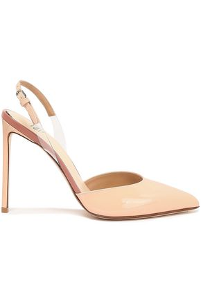 FRANCESCO RUSSO PVC-trimmed patent-leather slingback pumps