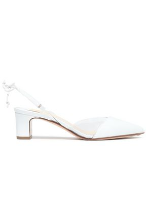 FRANCESCO RUSSO Patent-leather and PVC slingback pumps