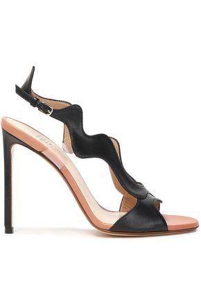 FRANCESCO RUSSO PVC-trimmed leather sandals
