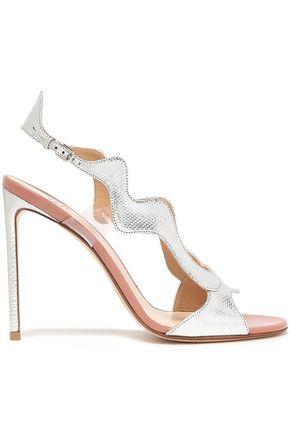FRANCESCO RUSSO PVC-trimmed metallic karung sandals