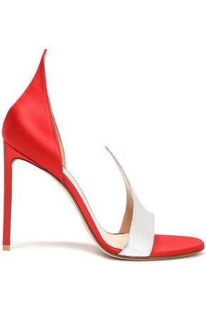 FRANCESCO RUSSO Metallic karung and satin sandals