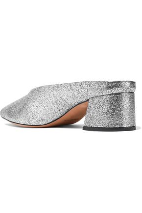 VINCE. Ralston metallic cracked-leather mules