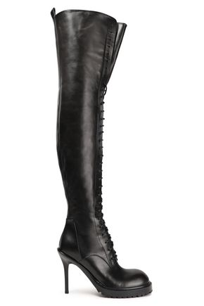 ANN DEMEULEMEESTER Lace-up leather platform thigh boots