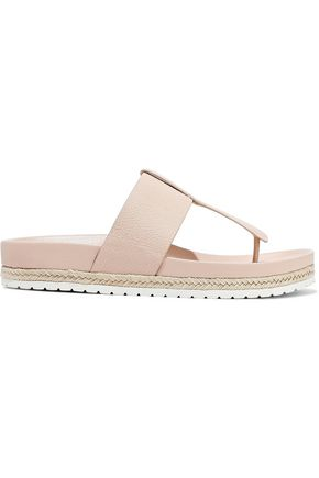 VINCE. Avani jute-trimmed textured-leather sandals