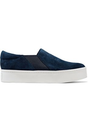 VINCE. Warren suede platform slip-on sneakers