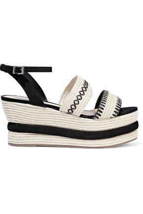 SCHUTZ Denes suede-trimmed embroidered straw platform espadrille sandals